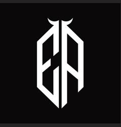 Ea logo monogram with horn shape isolated black vector