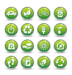 ecology web icons green buttons icon set vector image