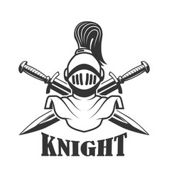 Emblem template with medieval knight helmet vector