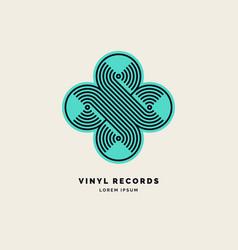emblem vinyl record linear sign vector image