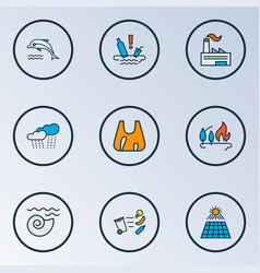 Environment icons colored line set with water vector
