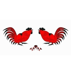 Fighting of red roosters on a white background vector image