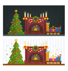 Fireplace and fir tree with gifts christmas vector