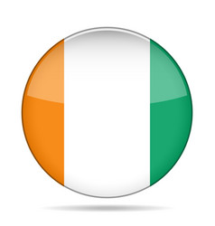 Flag of ivory coast shiny round button vector