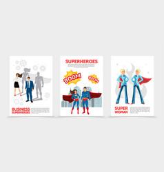 Flat superhero characters posters vector