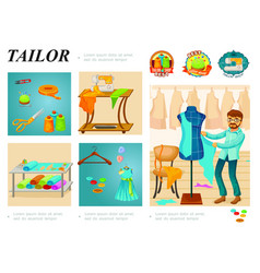 flat tailoring infographic template vector image