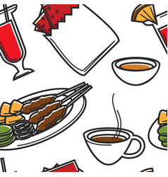Food and drink singapore seamless pattern national vector