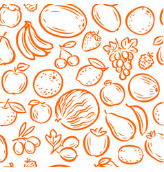 Fruits seamless background or pattern natural vector