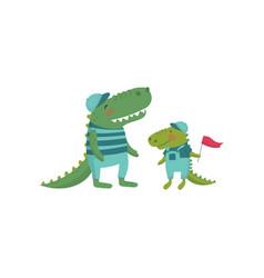 Funny crocodile family cartoon wild animals vector