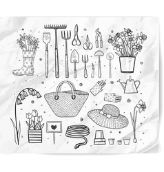 garden doodles on white background vector image
