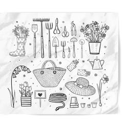 Garden doodles on white background vector