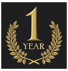 Golden laurel wreath 1 year- one year jubilee vector