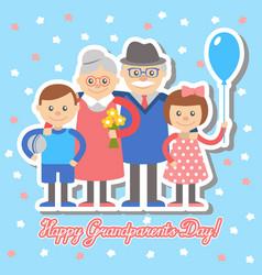 grandmother and grandfather grandchildren greetin vector image