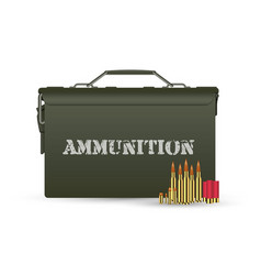 Green military ammunition box with some ammo vector