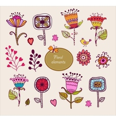 Hand Drawn floral elements Set of flowers vector