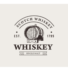 Hand drawn whiskey logo Typography monochrome vector