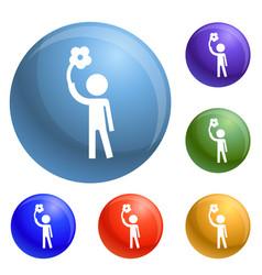 Handicap man icons set vector
