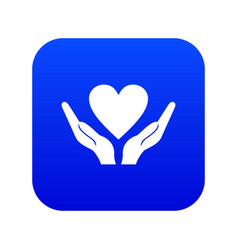 hands holding heart icon digital blue vector image