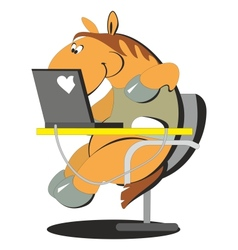 Horse working on the computer 004 vector image