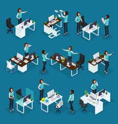 Isometric business woman at work collection vector
