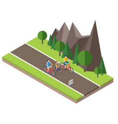Isometric countryside summer road family cycling vector