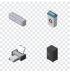 Isometric work set of strongbox printing machine vector