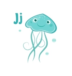 Jellyfish funny alphabet animal vector