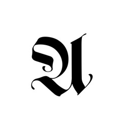 Letter u in gothic style alphabet the symbol vector