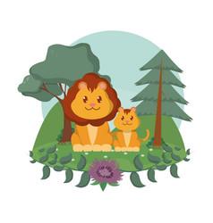 Lions family cute animals cartoons vector