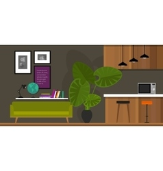 Living room home interior kitchen vector