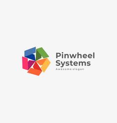 Logo pinwheel systems colorful style vector