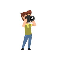 male photographer character with photo camera vector image
