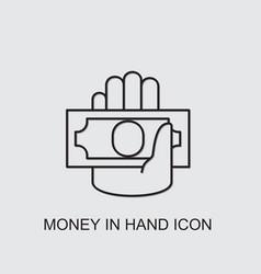 Money in hand icon vector