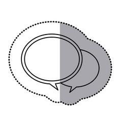 Monochrome contour sticker with speech bubbles vector