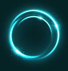 Neon light circle sparkles shine icon vector
