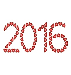 New Year 2016 made from hearts vector image