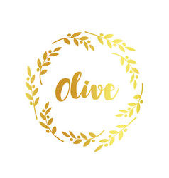 olive label golden ornamental border vector image