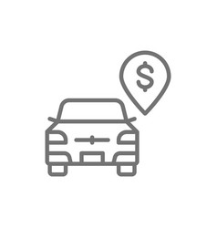 paid parking toll parking line icon vector image