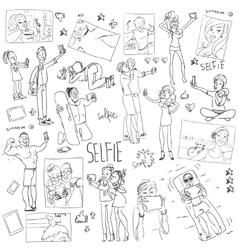 People taking a selfie Cartoon doodles vector