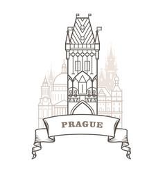 prague city skyline - powder tower in prague vector image