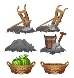 Preparation of soil and watermelons harvest vector