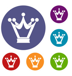 princess crown icons set vector image