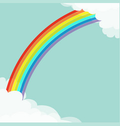 rainbow in the sky fluffy cloud in corners frame vector image