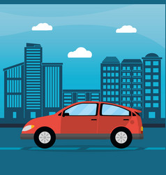 Red car city daylight vector