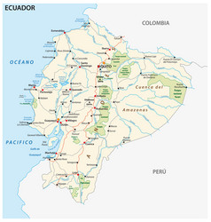 Republic ecuador road and national park vector