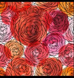 rose seamless pattern floran watercolor vector image