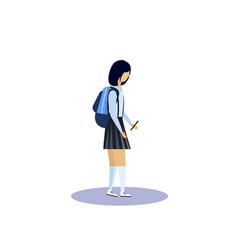 school girl profile isolated using smartphone vector image