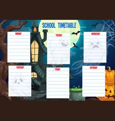 School timetable schedule halloween weekly planner vector