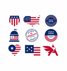 Set made in usa labels vector