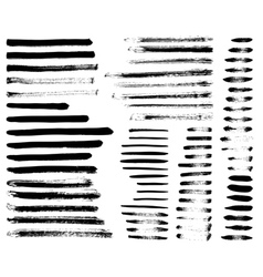 Set of different grunge brush strokes vector image